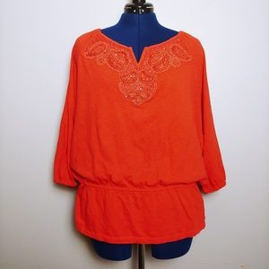 Orange cotton embellished top